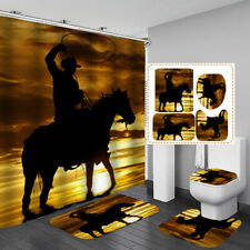 Western Cowboy Brown Shower Curtain Bath Mat Toilet Cover Rug Bathroom Decor