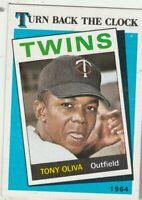 FREE SHIPPING-MINT-1989 (TWINS) Topps  #665 Tony Oliva TURN BACK THE CLOCK