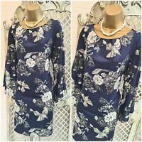 NEW LOOK 💋 UK 14 Navy / Silver Oriental Floral Bird Dress ~ Free P&P ~