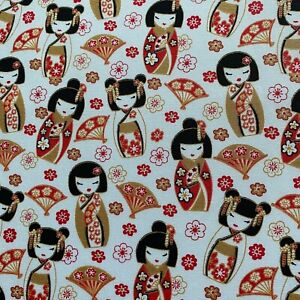 Japanese White Kokeshi Doll Print 100% Cotton Craft Fabric FQ, Half Meter, Meter