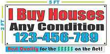 I BUY HOUSES ANY CONDITION w Custom Phone # Banner Sign NEW Larger Size