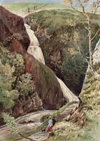WATERFALL AT LLANBERIS WALES Small Watercolour Painting 19TH CENTURY