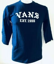 Vans Boys Off The Wall T-Shirt Navy Blue & White Letters 3/4 Sleeve Tee Small