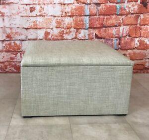 Storage Box / Footstool / Handy Hide Away Storage Solution -Natural Plain Fabric