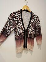 Karen Millen Size 3 Pink Black Cardigan zip front jumper designer
