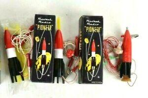 One Vintage Imperial Missile & two Pioneer Rocket Crystal Japan Toy Radios