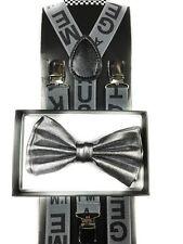 Metallic Bow Tie & Grey Stylist Suspender Wedding Party Apparel Accessories