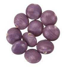Disc Shape Shiny Opaque Violet Smartie Glass Beads 12x6mm Pack of 10 (B13/7)