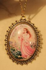 Lacy Picot Rim Pink Robed Angel in a Flower Garden Glass Cameo Pendant Necklace