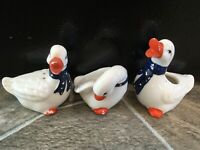 3 Duck SALT & PEPPER SHAKERS TOOTHPICK HOLDER Ceramic BLUE BOW RIBBON TIES Geese