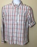 LL Bean Hiking Vented Weave Shirt Long Sleeve Button Front Plaid Men's Size S