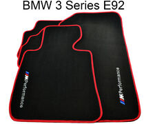 BMW 3 Series E92 Black Floor Mats Red Rounds With ///M Performance Logo NEW