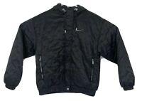 NIKE Women's Black Vintage Zip Up Hooded Puffer Jacket Coat Size Small EUC