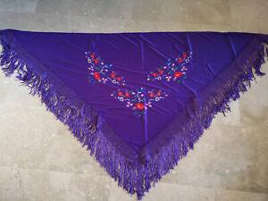 Flamenco Scarf from Spain Stole Shoulder Cloth Flamenco-Tuch Flowers Purple M