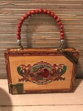 """WOW! """"MY FATHERS CIGARS"""" Wooden Cigar Box Purse /Hand BagW/ Beaded Handle"""
