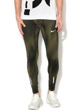 Nike Mens Power Tech Print Running Tights 833109-355 Sequoia Green Black Size S