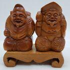 Wood Carving Statue Figurine Daikokuten & Ebisu Japanese Gods Of Wealth & Oceans