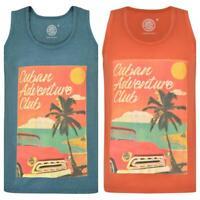 Mens Plus Size Printed Cotton Summer T Shirt Sleeveless Vest Lightweight 2XL-8X