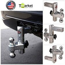 """Aluminum 8"""" Hitch Dual Trailer Truck Tow Adjustable T3 Receiver Lock Trail Heavy"""