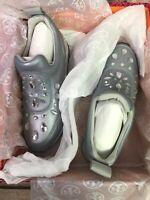 Tory Burch Womens Silver Fashion Sneakers Size 9, 9.5, 10 Metallic Bling Stones