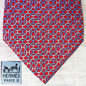 NEW NWOT Hermes Made France 100% Silk Tie 5481 FA Red + Blue & Gray Chain-Link