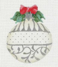 *NEW* Pearl White & Silver June Ornament HP Needlepoint Canvas by Kelly Clark