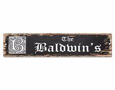 SPFN0361 The BALDWIN'S Family Name Street Chic Sign Home Decor Gift Ideas