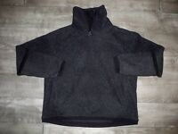 Mens Nike Black Swoosh Vintage Fleece Sherpa Pullover Sweatshirt Jacket Sz Large