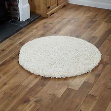Large Modern Thick 5cm High Pile Plain Cream Shaggy Circle Round Rug 133 X 133cm