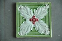 Vintage Majolica Decorative Big Flower Art Nouveau Architecture Tile,England