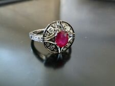 Certified New 18K White Gold 0.9 Carat Ruby and 0.51Ct Diamond Ring Valued $6340