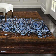 "5'7""x7'10"" Broken Design Wool With Silk High & Low Pile Hand Knotted Rug Carpet"