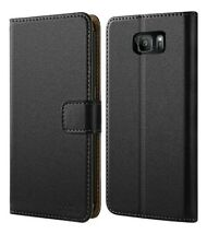 Wallet Case Compatible with Samsung S7 Edge Premium Leather Shockproof Stand BLK
