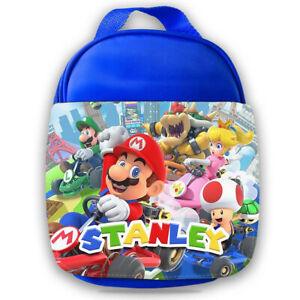 Personalised Mario Kids Blue Lunch Bag Any Name Childrens School Snack Box 6