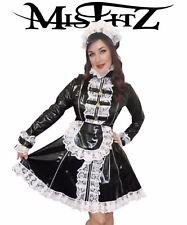 Misfitz black Pvc padlock lockable 3 Zip maids dress 8-32/Made To Measure TV CD