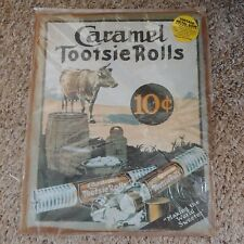 Vintage Rustic Reproduction Metal Sign Cow Caramel Tootsie Rolls Ten Cents