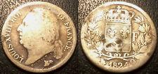 Louis XVIII - demi-franc argent 1824 Q, Perpignan ! F.179/51