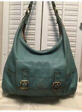 Fossil Turquoise Pebble Leather Contrast Stitching Hobo Handbag