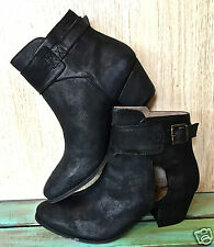 NIB Free People black distress suede Bellville Ankle Boots Bootie 38 /7-7.5 $198