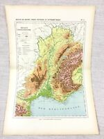 1888 Antique Map of Eastern France Rhone Physical Hypsometric FRENCH 19th C