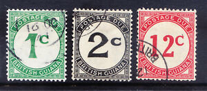 BRITISH GUIANA 1940 SGD1/2/4 set of 3 - Postage Dues - ordinary paper. Cat £23