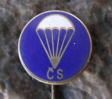 Antique Czech Parachuting Skydiving Club Members Parachute Crest CS Pin Badge