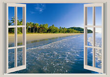 Beach Shoreline Window View Repositionable Color Wall Sticker Wall Mural 36x51