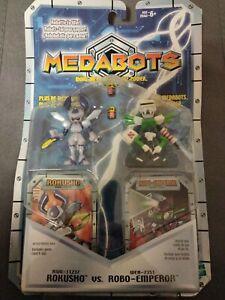 RARE 2001 MEDABOTS ROKUSHO VS ROBO EMPEROR ROBATTLE FIGURE HASBRO NEW !