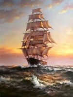 ZOPT57  100% handpainted Seascape sailing boat ART OIL PAINTING ON CANVAS