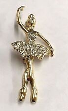 Simply Beautiful Ballerina Gold Tone with Crystal Pin Brooch