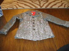 BOUTIQUE PAMPOLINA 6X GRAY GOLD JACKET COAT GORGEOUS