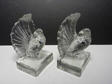 """Czechoslovakia Fantail Pigeons Figural Bookends Clear 6"""" T Signed"""