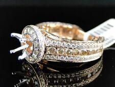 14K ROSE GOLD ROUND CUT BROWN DIAMOND SEMI MOUNT ENGAGEMENT RING 3.26 CT