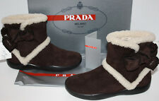 NIB Girls Saks Fifth Avenue Prada Milano Brown Boots Size 33 ~ US 1.5